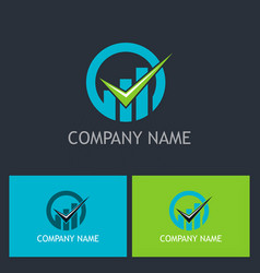 check mark business finance company logo vector image
