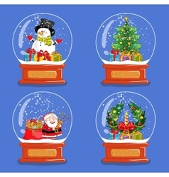 Collection of christmas glass snow globes vector
