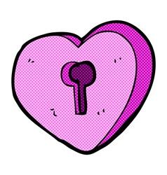 comic cartoon heart with keyhole vector image vector image