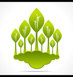Creative green forest of wind mill design backgrou vector