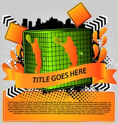 cube with tennis silhouette sport design series vector image vector image