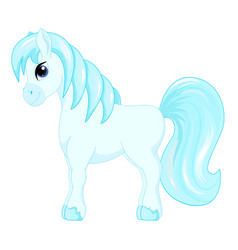 Cute cartoon little blue horse blue hair decorate vector
