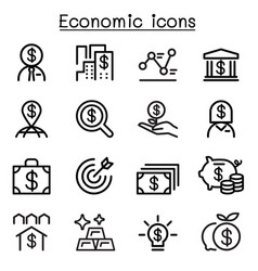 economic business investment icons set vector image vector image