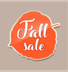 Fall sale banner with red fall aspen tree leaf vector