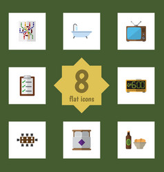 Flat icon lifestyle set of router questionnaire vector