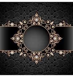 Gold jewelry vignette vector image