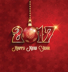 Happy new year background with hanging bauble 1510 vector