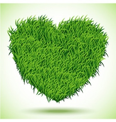 Heart green grass vector