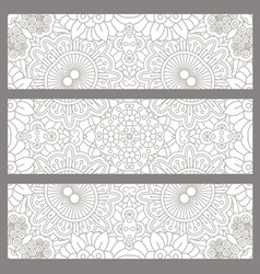 Horizontal flyers with light ethnic pattern vector