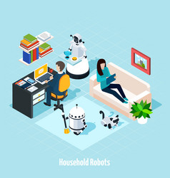 household robots isometric composition vector image