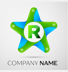 letter r logo symbol in the colorful star on grey vector image