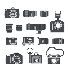Modern and retro photo technics silhouettes vector