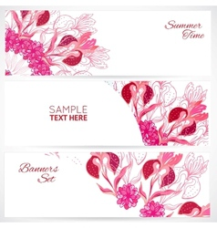 Red floral ornament banners set vector image vector image