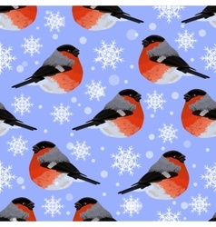 Seamless pattern with snowflakes and bullfinches vector image