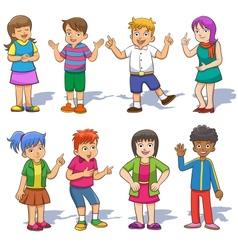 Set of cute cartoon kids vector image