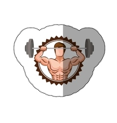 Sticker colorful stamp border with muscle man vector