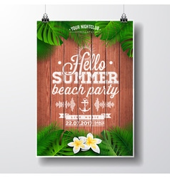 Tropical plants and flowers typographic design vector