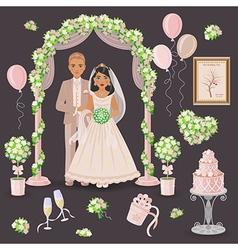 Wedding decoration in cream color vector