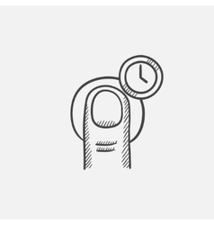 Hold timer gesture sketch icon vector