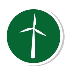 Windmill silhouette energy icon vector