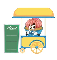 A cart stall and a cupcake vector