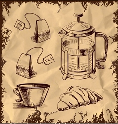 Tea time objects collection on vintage background vector