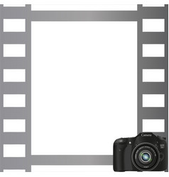 Gray photo frame with a camera in the bottom corne vector