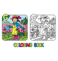 Gardener coloring book alphabet g profession abc vector