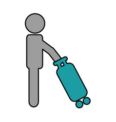 Tourist silhouette with suitcase vector