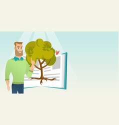 Student pointing at tree of knowledge vector
