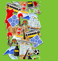 portugal seamless pattern with stickers vector image