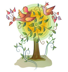 Beatiful colorful happy birds on tree vector