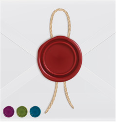 Set of wax seals with rope vector