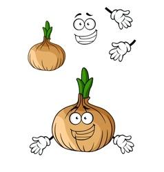 Fun cartoon brown onion vegetable vector