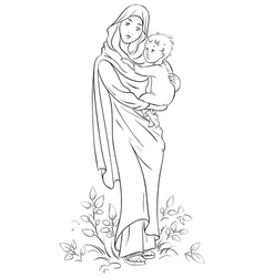 Virgin mary holding baby jesus outlined vector