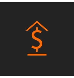 Orange bank icon on black vector image
