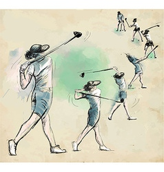 Golfer - Hand drawn converted into vector image