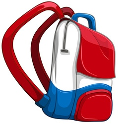 Schoolbag in red and blue vector