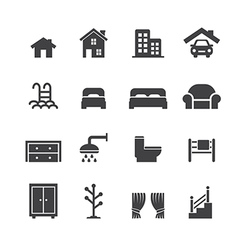 House related icons vector
