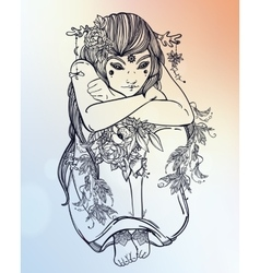 Nature fairy woman boho vector