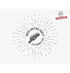 vintage guitar label with sunburst vector image