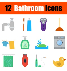 Flat design bathroom icon set vector