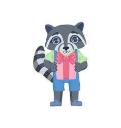 Boy raccoon with the present vector