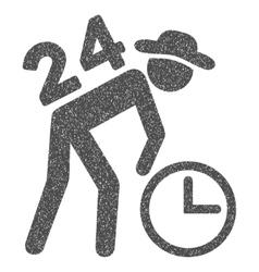 Around the clock work grainy texture icon vector