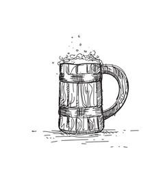 Beer icon sketch wooden mug oktoberfest festival vector