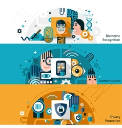 Biometric authentication banners vector