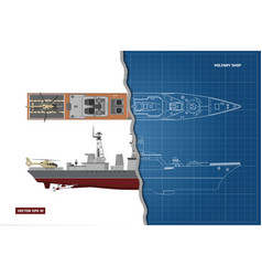 Blueprint of military ship top and side view vector
