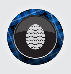 Button blue black tartan - easter egg with waves vector