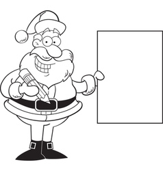 Cartoon santa claus holding a sign vector