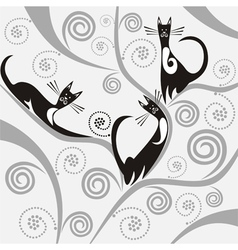 Cats on the tree vector image vector image